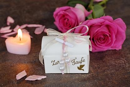 Zur Taufe, könnte ein Anlass für ein Gastgescchenk sein oder eben auch ein Geburtstag, Jubiläum oder einfach eine Einladung bei lieben Freunden