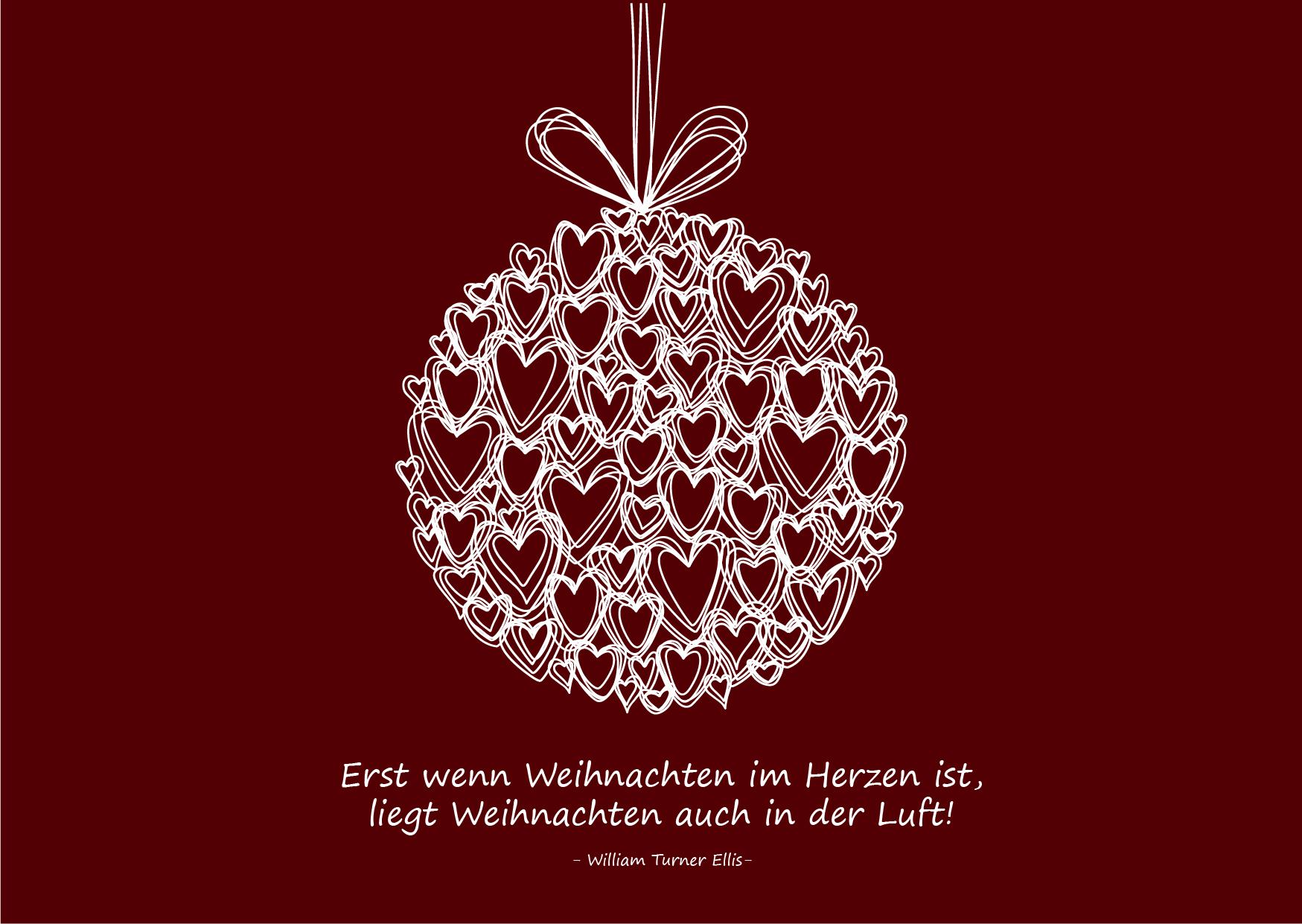 """Weihnachtsgrüße als Karte zum Drucken: Zitat """"Erst wenn Weihnachten im Herzen ist, liegt Weihnachten auch in der Luft!"""" (#5)"""
