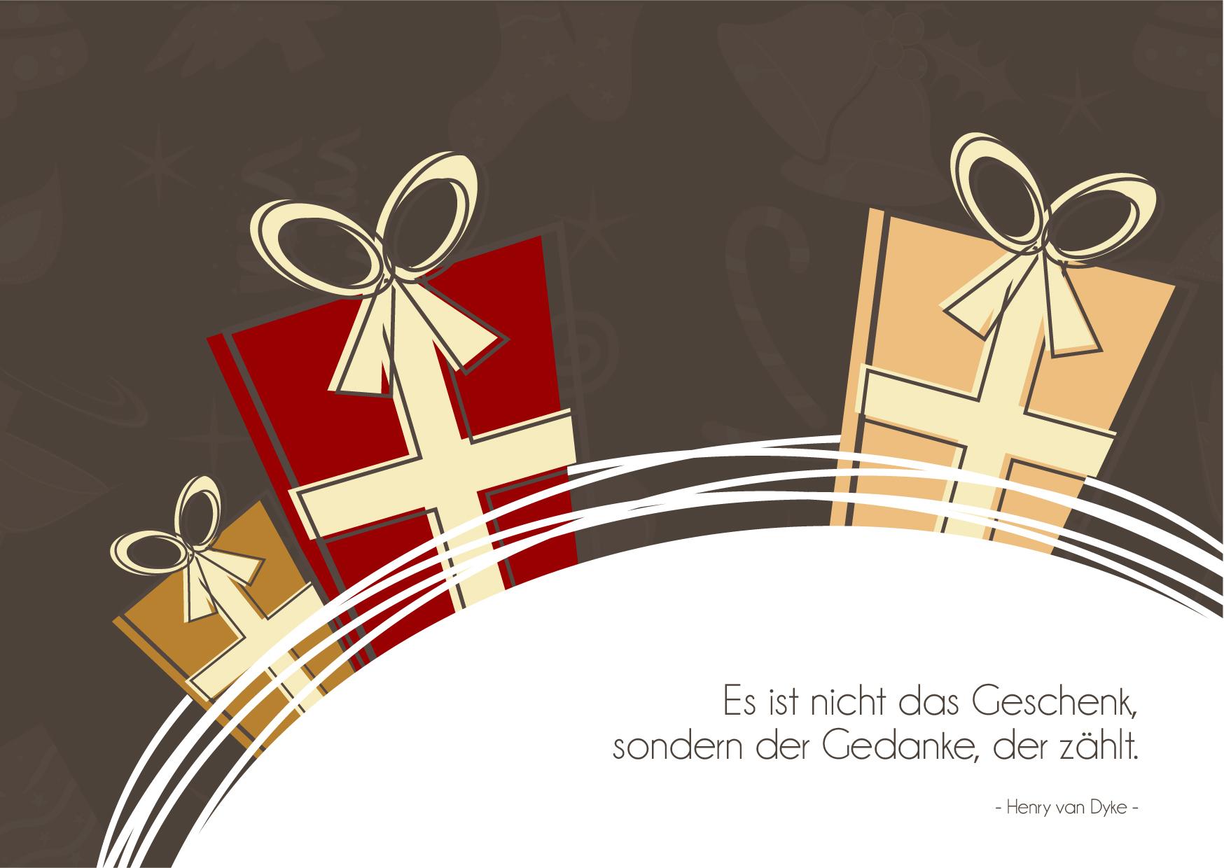 """Weihnachtsgrüße als Karte zum Drucken: Zitat """"Es ist nicht das Geschenk, sondern der Gedanke der zählt"""". (#6)"""