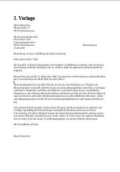 Vorlage Nr. 2 Anschreiben Muster