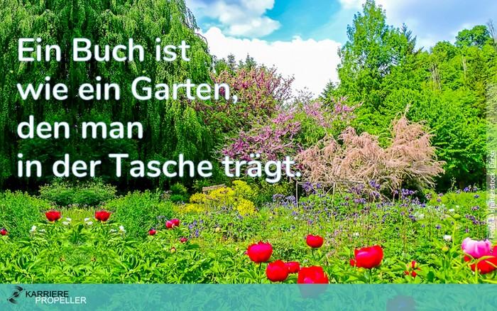 """Frauen-Sprüche: """"Ein Buch ist wie ein Garten, den man in der Tasche trägt."""