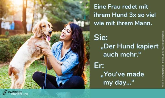 """Sprüche über Frauen: 'Eine Frau redet mit ihrem Hund 3x so viel wie mit ihrem Mann. Sie: """"Der Hund kapiert auch mehr."""" Er: """"You've made my day…""""'"""